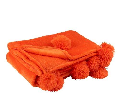 J-Line Plaid Extra Soft Pompom Polyester - Orange