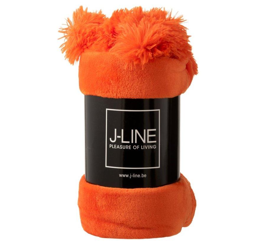 Plaid Extra Soft Pompom Polyester - Orange