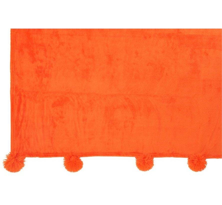 Plaid Extra Zacht Pompom Polyester - Oranje
