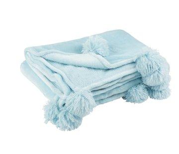 J-Line Plaid Extra Zacht Pompom Polyester - Babyblauw