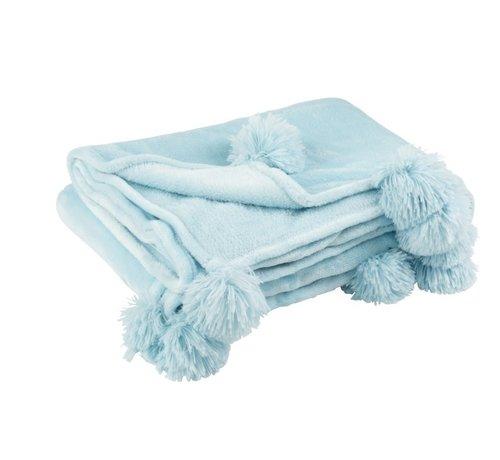J-Line Plaid Extra Soft Pompom Polyester - Baby Blue