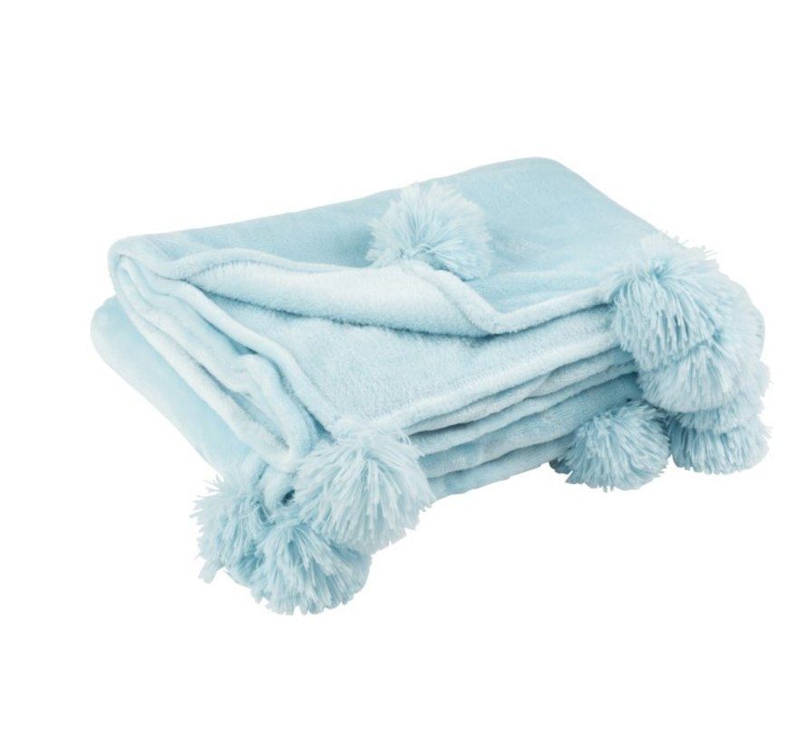 Plaid Extra Soft Pompom Polyester - Baby Blue