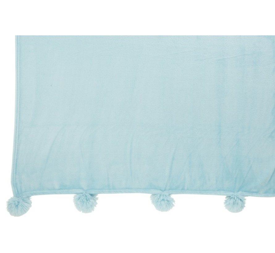 Plaid Extra Zacht Pompom Polyester - Babyblauw