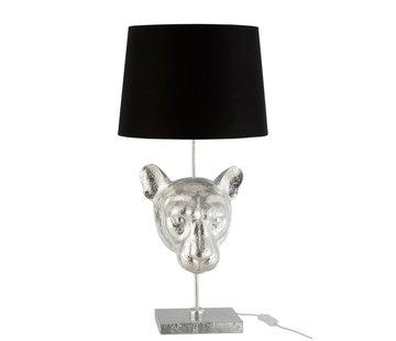 J -Line Tafellamp Decoratief Luipaard Kop Zilver - Zwart