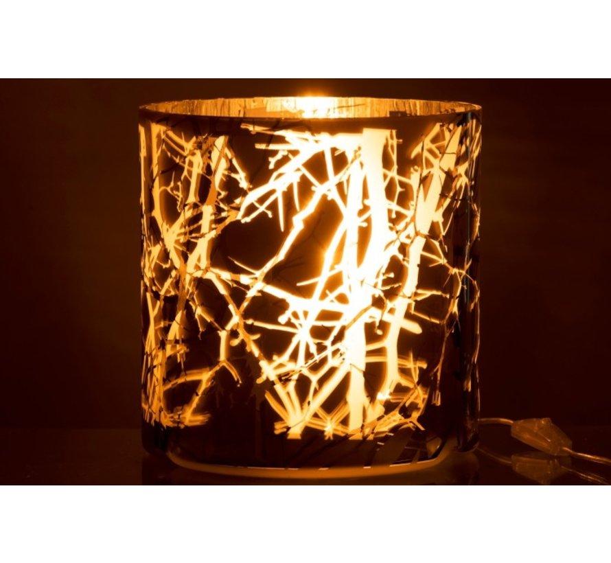 Tafellamp Glas Motief Takken Mat Blinkend - Grijs