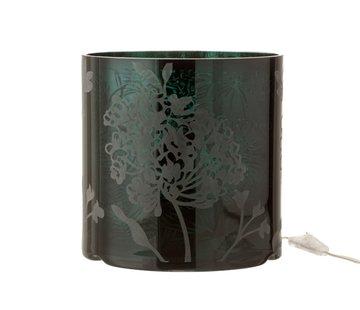 J -Line Tafellamp Glas Plantenmotief Mat Blinkend - Groen