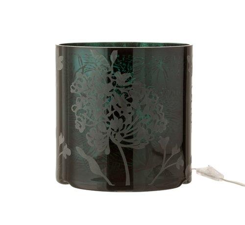 J -Line Table lamp Glass Plant motif Matt Shiny - Green