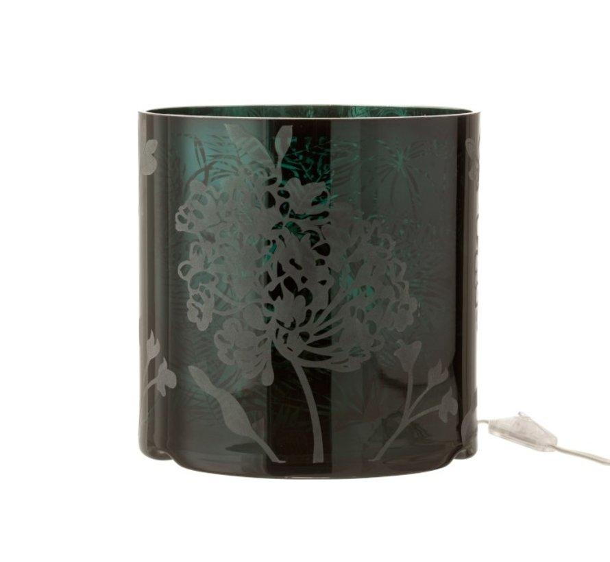 Table lamp Glass Plant motif Matt Shiny - Green