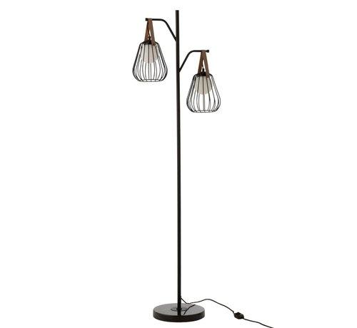 J -Line Staande Lamp Industrieel Modern Marmeren Voet - Zwart