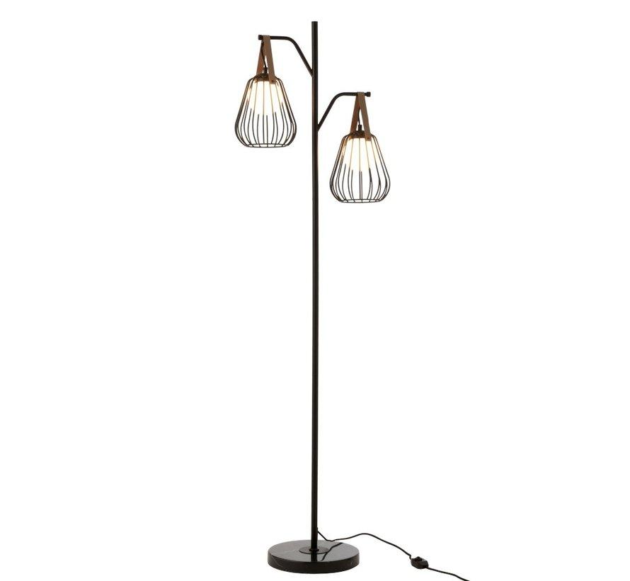 Staande Lamp Industrieel Modern Marmeren Voet - Zwart