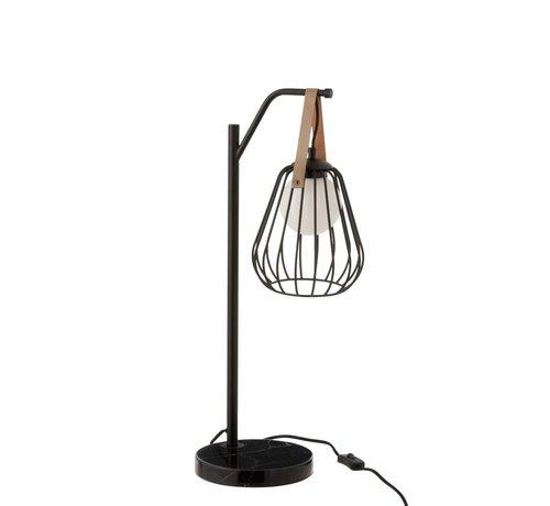 J -Line Tafellamp Industrieel Modern Marmeren Voet - Zwart