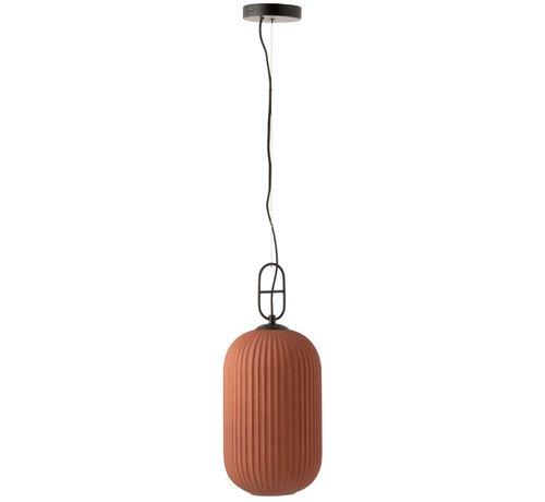 J -Line Hanging lamp Ribbed Glass Marble Black - Matt Red