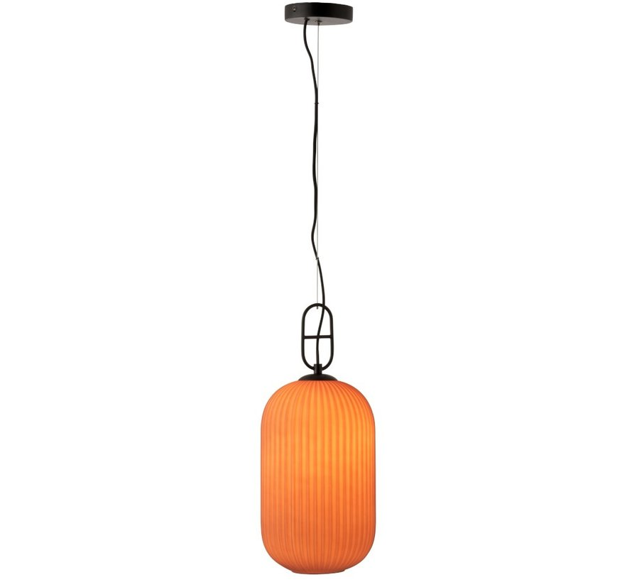 Hanging lamp Ribbed Glass Marble Black - Matt Red