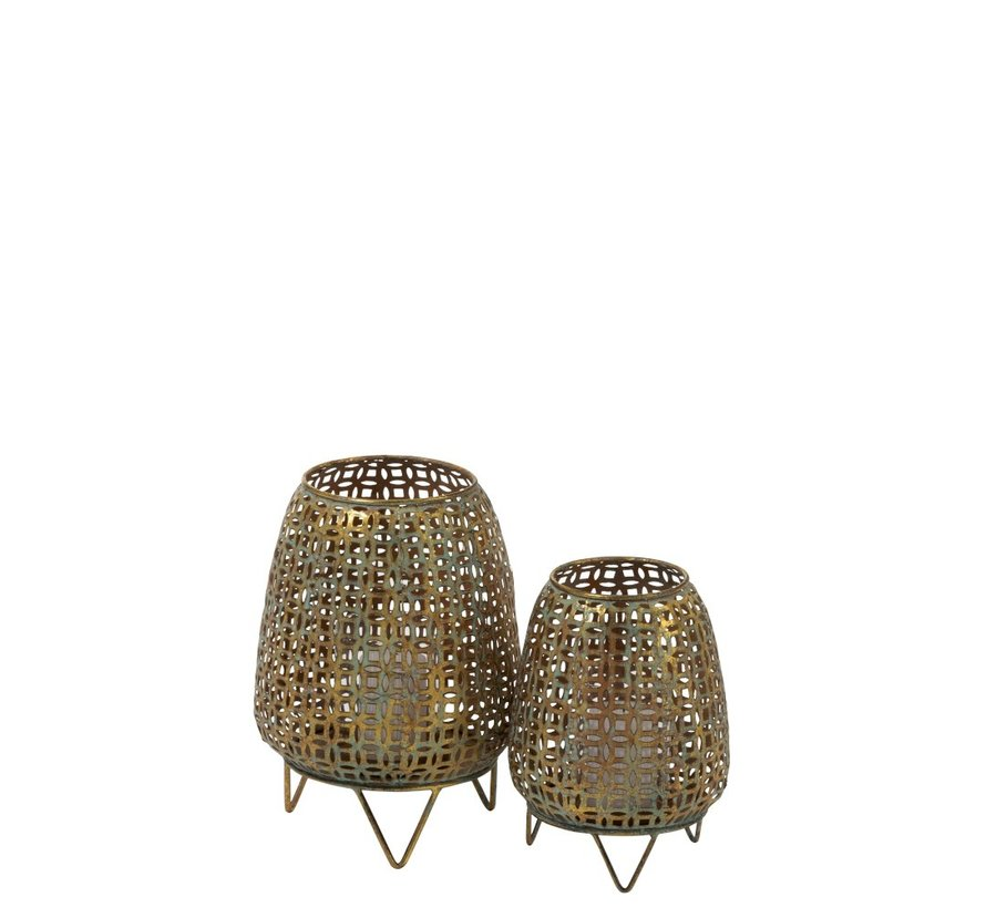 Tealight Holder On Foot Metal Glass Antique Gold - Small