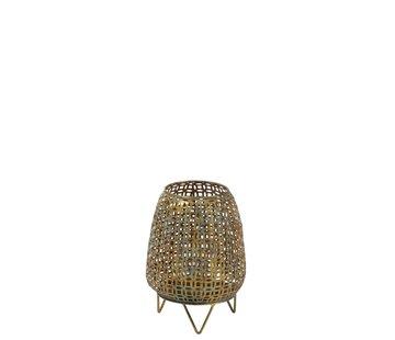 J -Line Tealight Holder On Foot Metal Glass Antique Gold - Large