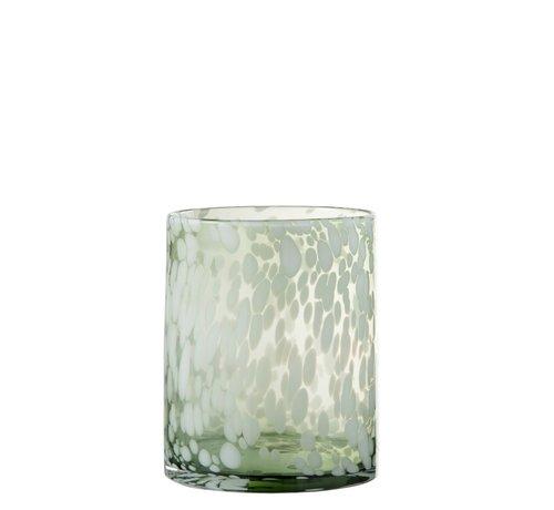 J -Line Theelichthouder Glas Spikkels Transparant Groen Wit - Small