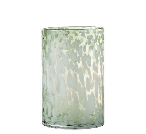 J -Line Tealight holder Glass Speckles Transparent Green White - Large