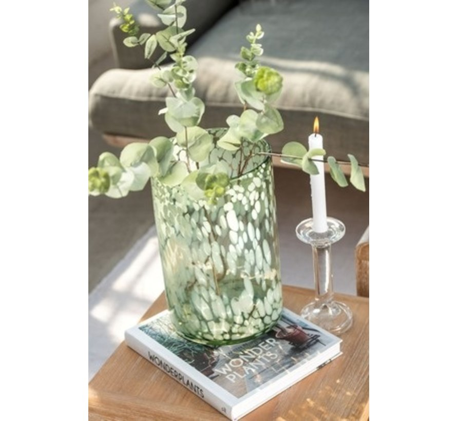 Tealight holder Glass Speckles Transparent Green White - Large