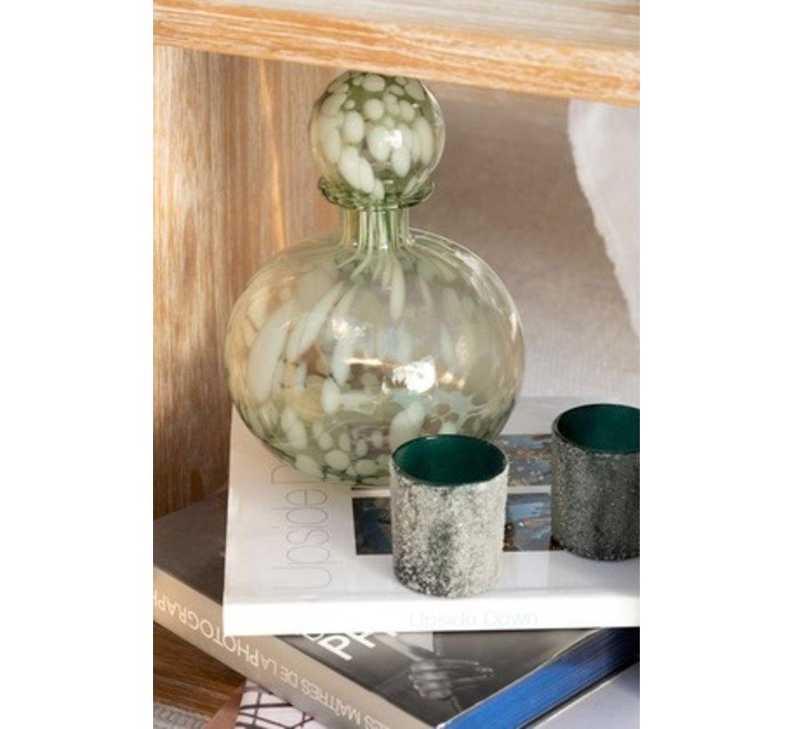 Decoratie Karaf Glas Spikkels Transparant Groen Wit - Small