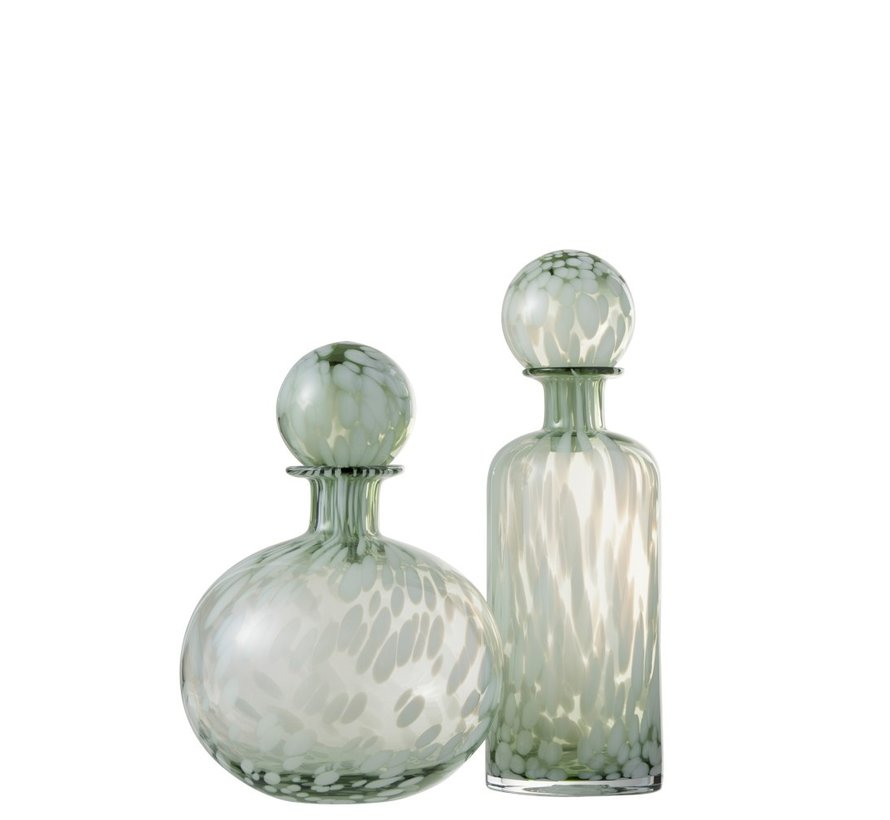 Decoration Carafe Glass Speckles Transparent Green White - Small