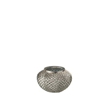 J-Line  Tealight Holder Glass Round Relief Silver - Small