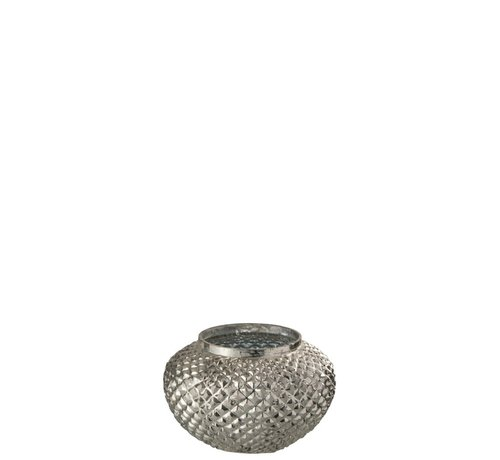 J -Line Tealight Holder Glass Round Relief Silver - Small