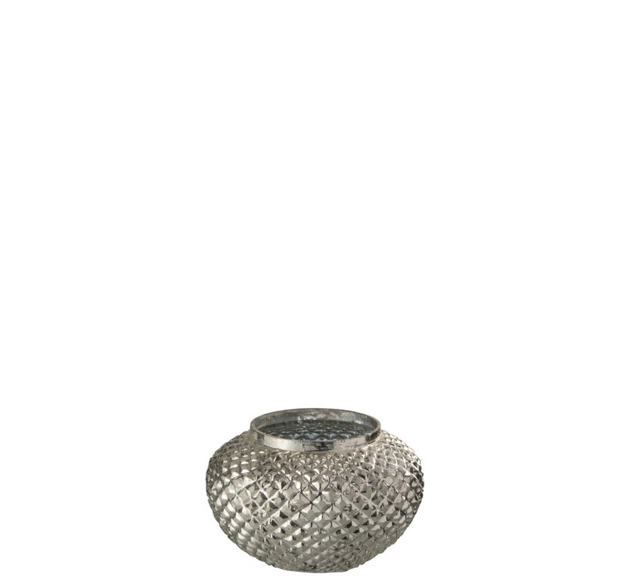 Tealight Holder Glass Round Relief Silver - Small
