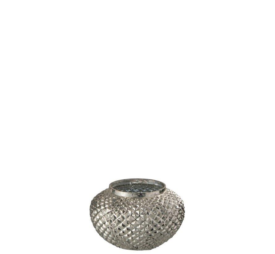 Theelichthouder Glas Rond Relief Zilver - Small