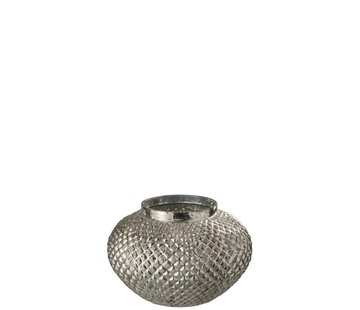 J-Line  Tealight Holder Glass Round Relief Silver - Large
