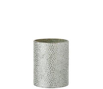 J-Line  Tealight holder Glass Mosaic White Silver - Medium