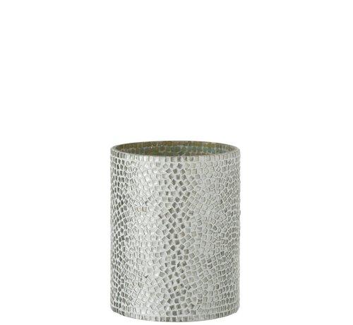 J -Line Theelichthouder Glas Mozaiek Wit Zilver - Medium