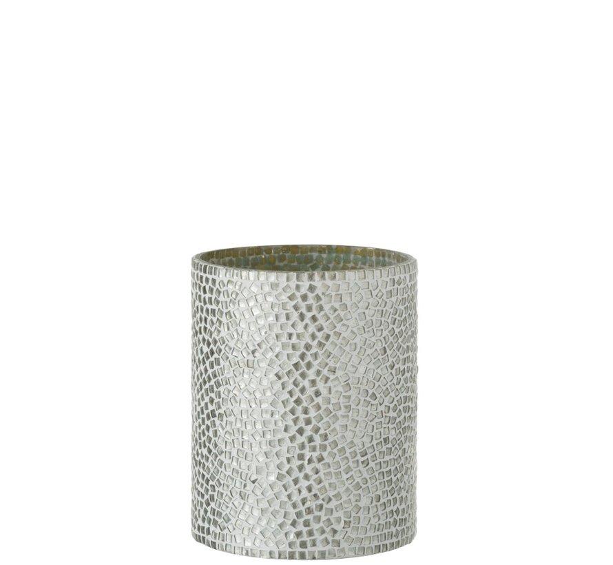 Theelichthouder Glas Mozaiek Wit Zilver - Medium