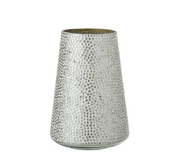J-Line  Theelichthouder Glas Mozaiek Wit Zilver - Large
