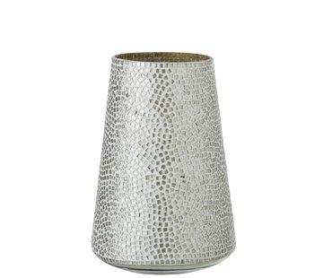 J -Line Theelichthouder Glas Mozaiek Wit Zilver - Large