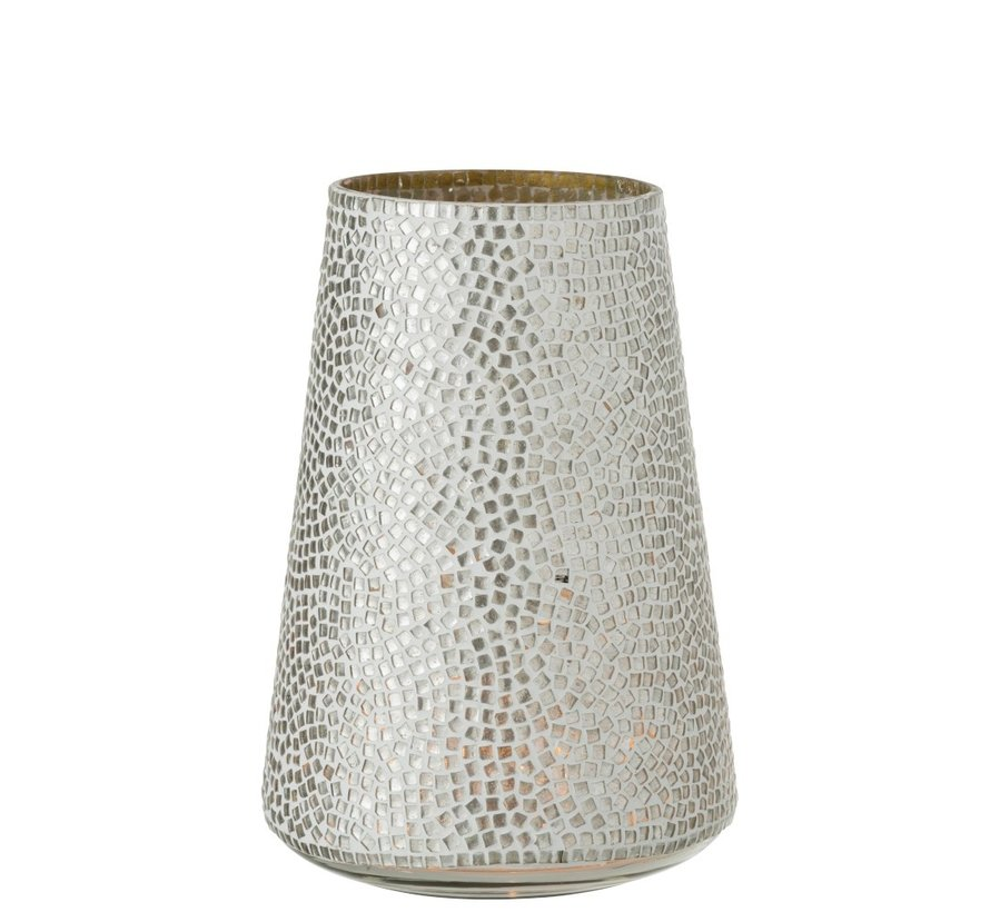 Tealight holder Glass Mosaic White Silver - Large