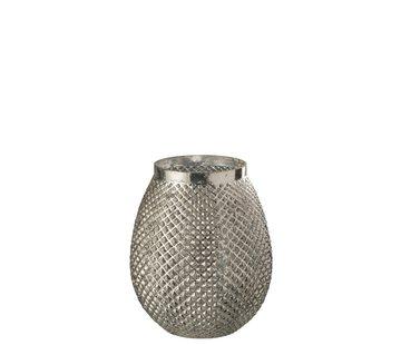 J-Line  Theelichthouder Glas Hoog Relief Blinkend - Zilver