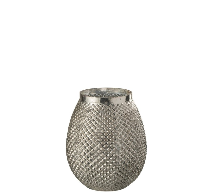 Theelichthouder Glas Hoog Relief Blinkend - Zilver