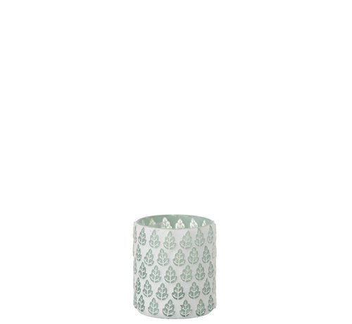 J -Line Tealight Holder Glass Trees Motif White - Small