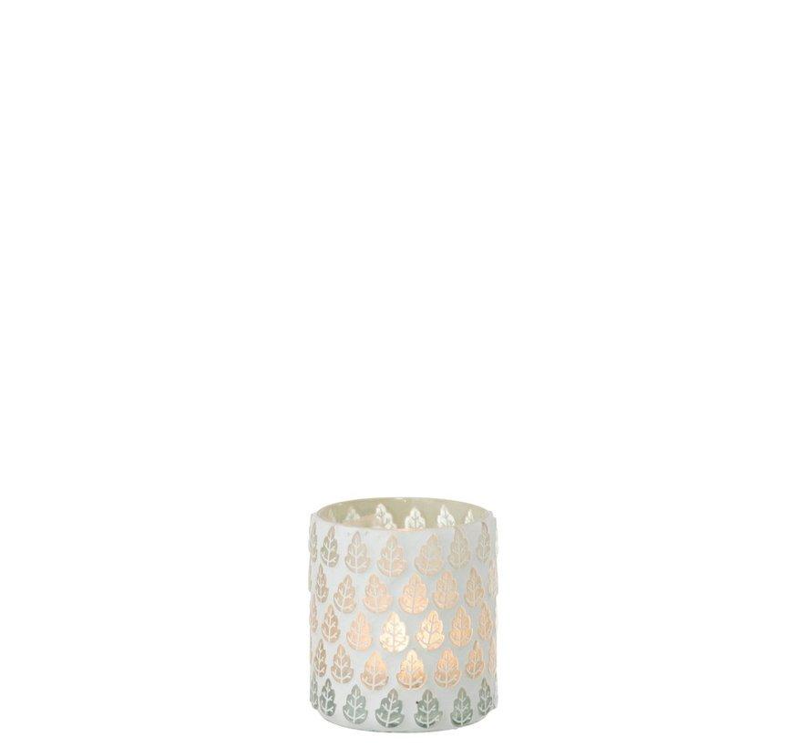 Tealight Holder Glass Trees Motif White - Small