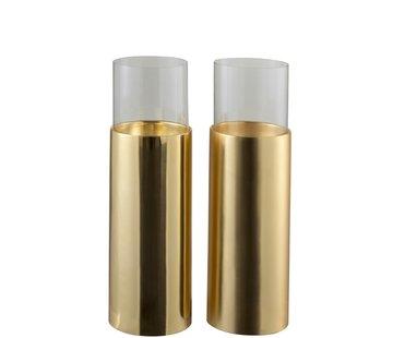 J -Line Theelichthouder Cilinder Op Voet Glas Staal - Goud