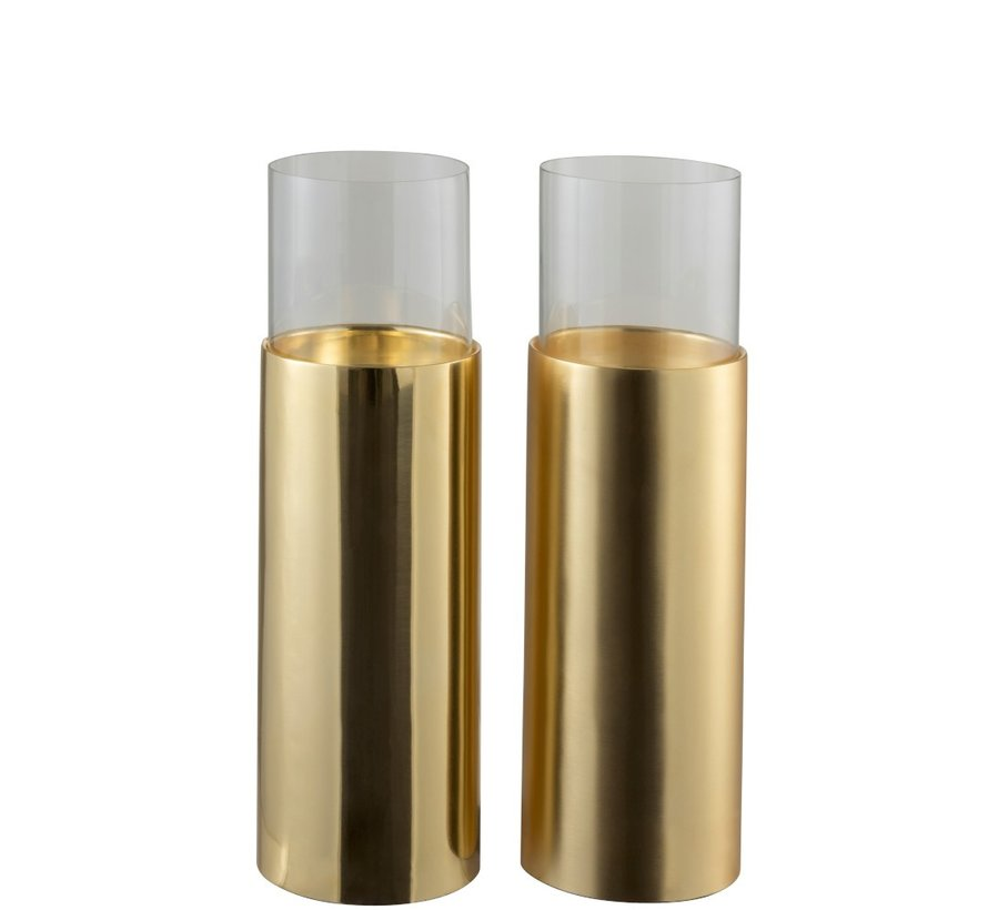 Tealight Holder Cylinder On Foot Glass Steel - Gold