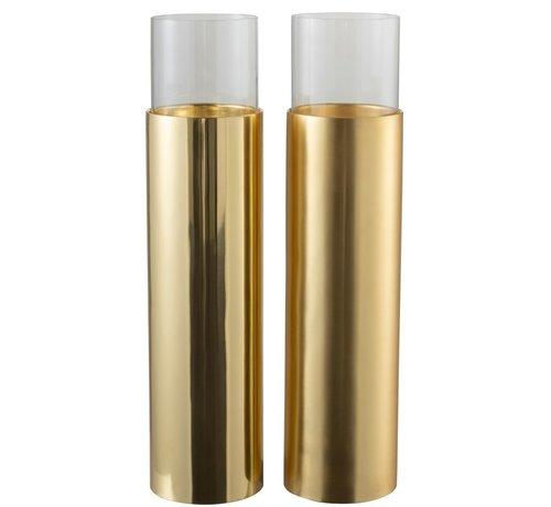 J -Line Tealight Holder Cylinder On Foot Glass Steel - Gold