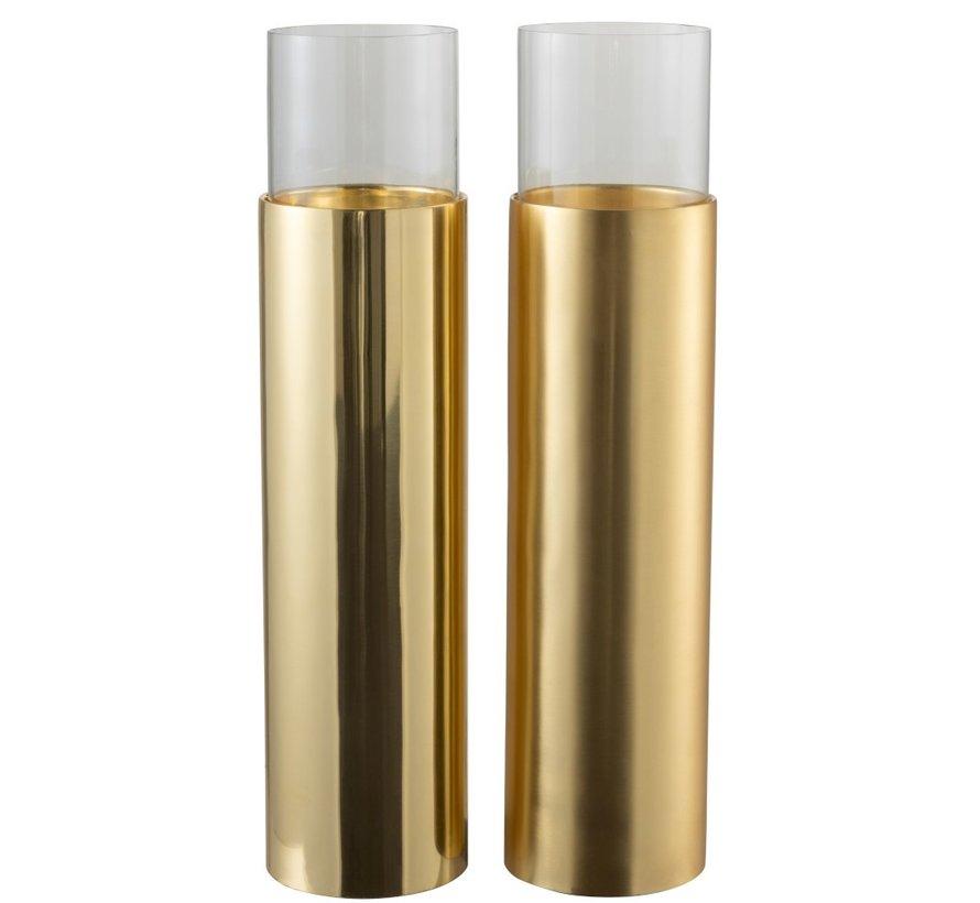 Theelichthouder Cilinder Op Voet Glas Staal - Goud