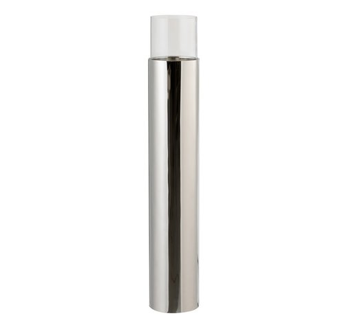 J-Line Tealight Holder Cylinder On Base Glass Steel - Silver