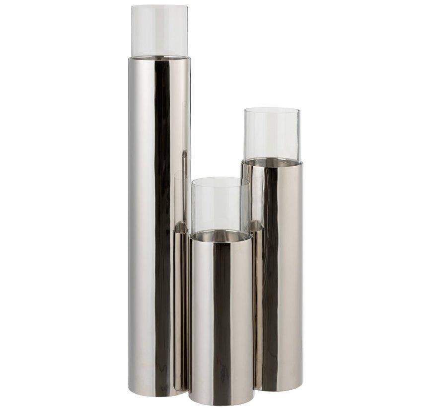 Theelichthouder Cilinder Op Voet Glas Staal Zilver - Medium