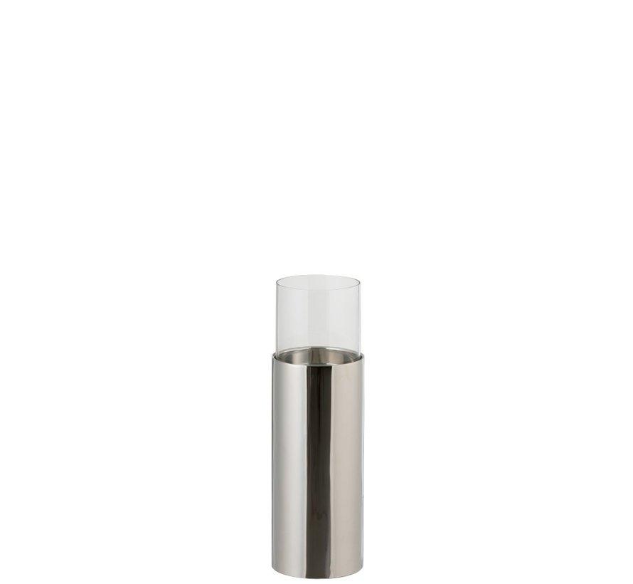 Theelichthouder Cilinder Op Voet Glas Staal Zilver - Small