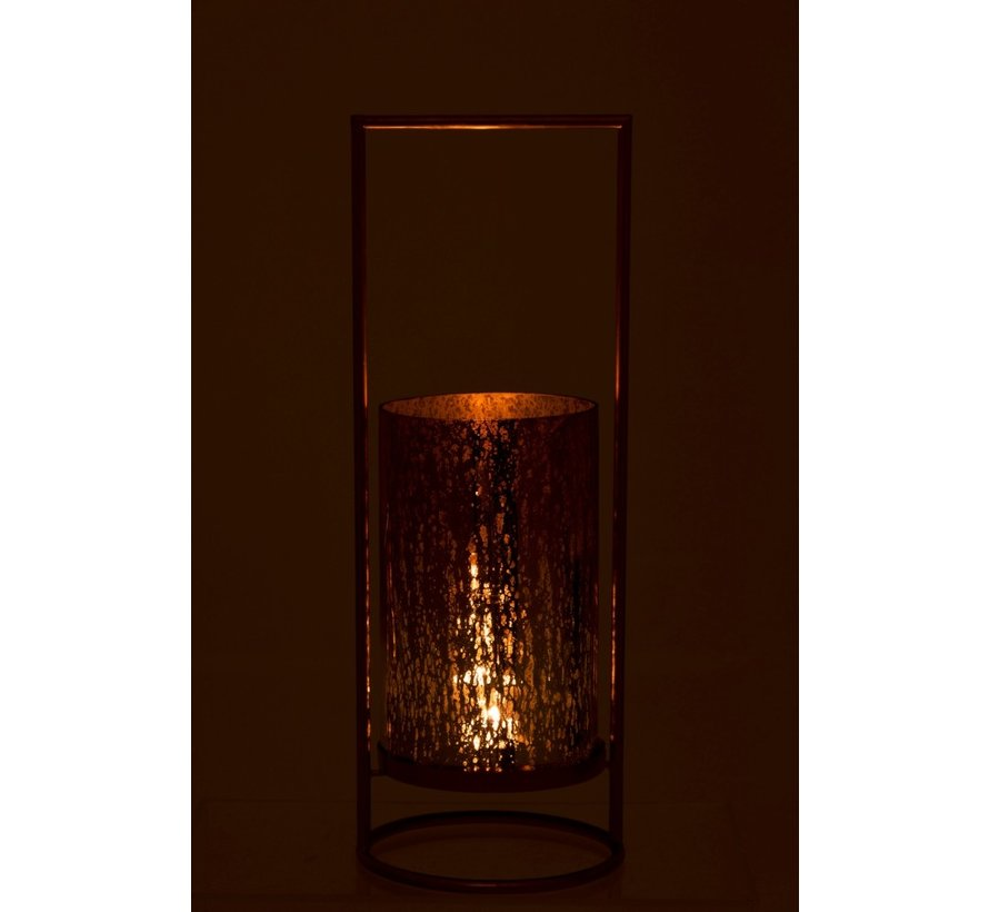 Tea Light Holder Elegant On Foot Glass Gold Pink - Large