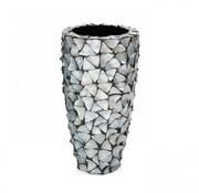 Pot & Vaas Shell Vase Cylinder Mother of Pearl Silver - Small