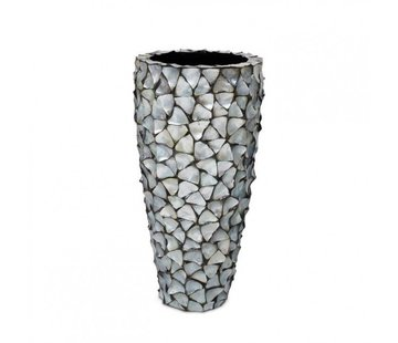 Pot & Vaas Shell Vase Cylinder Mother of Pearl Silver - Large