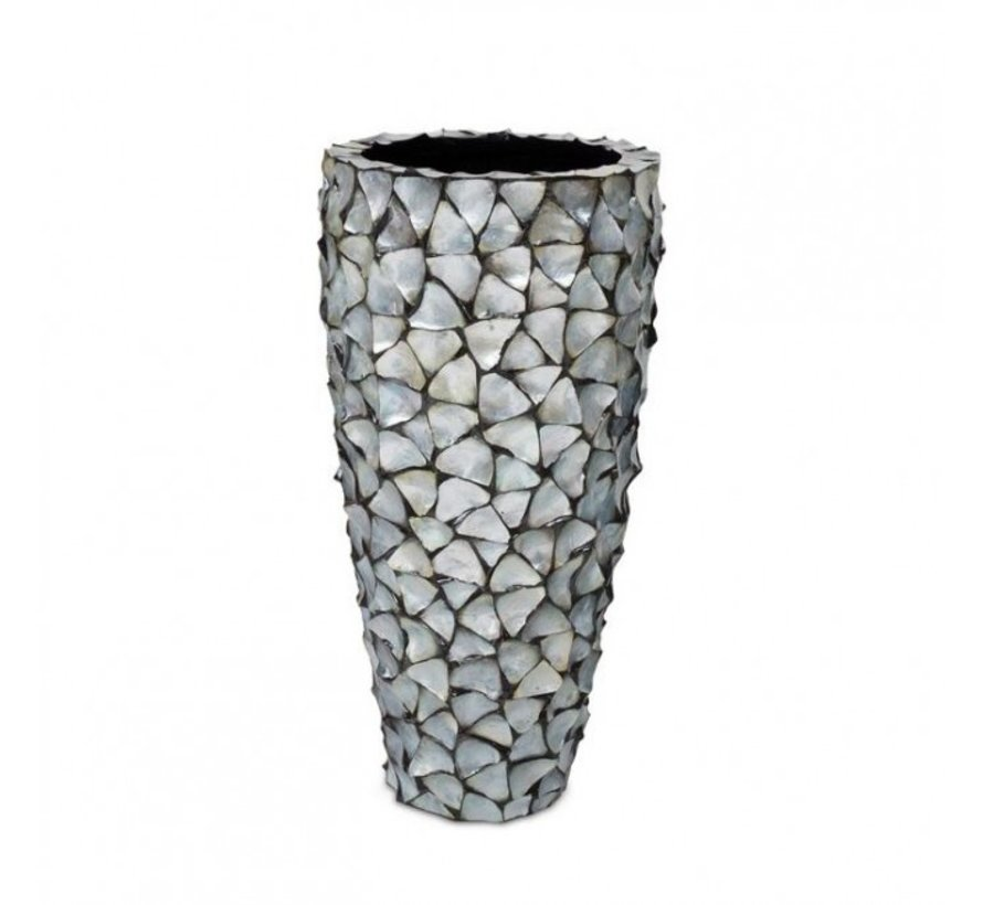 Shell Vase Cylinder Mother of Pearl Silver - Large